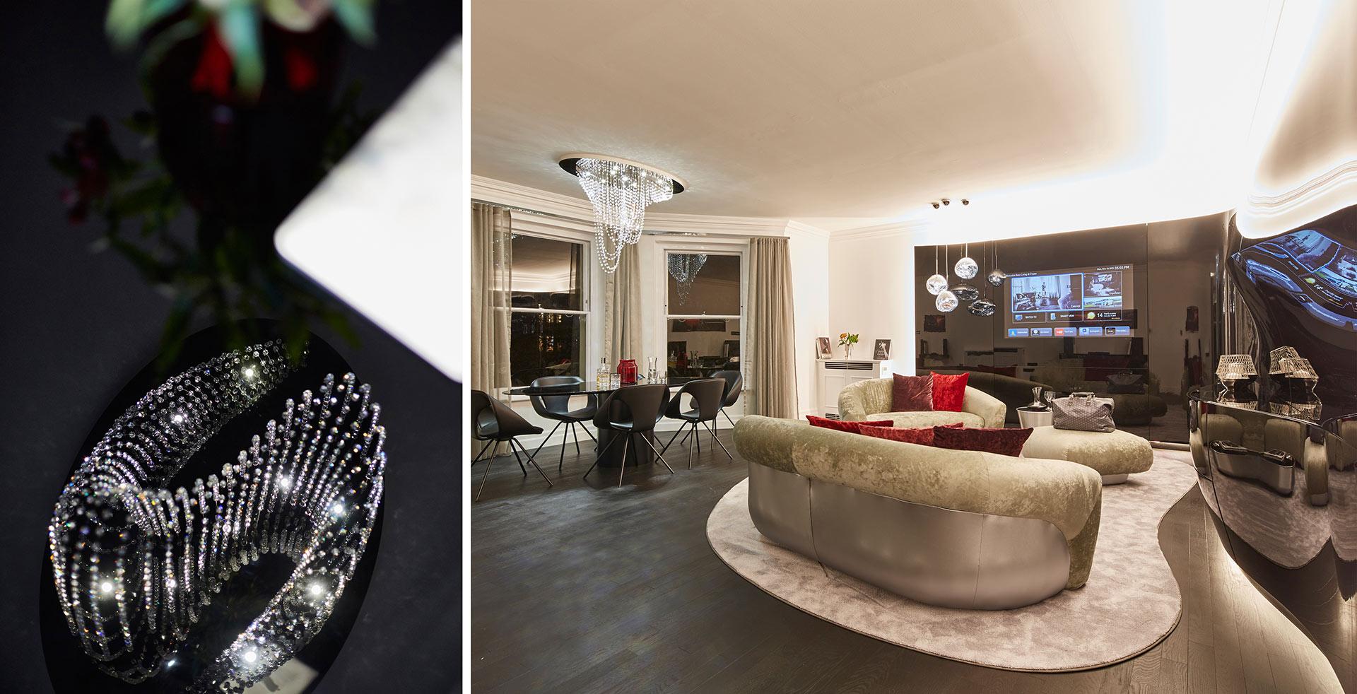 Die Innenansicht des Apartment Mercedes Benz Fraser in London. Entworfen von JOI-Design.