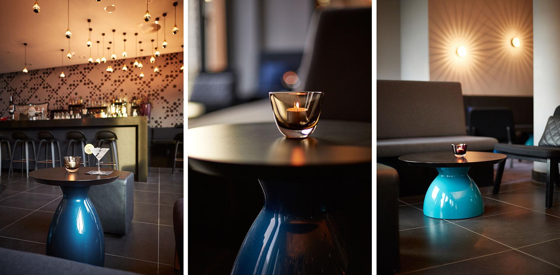 Die Bar im Serviced Apartment Capri by Fraser im Frankfurt. Entworfen von JOI-Design.