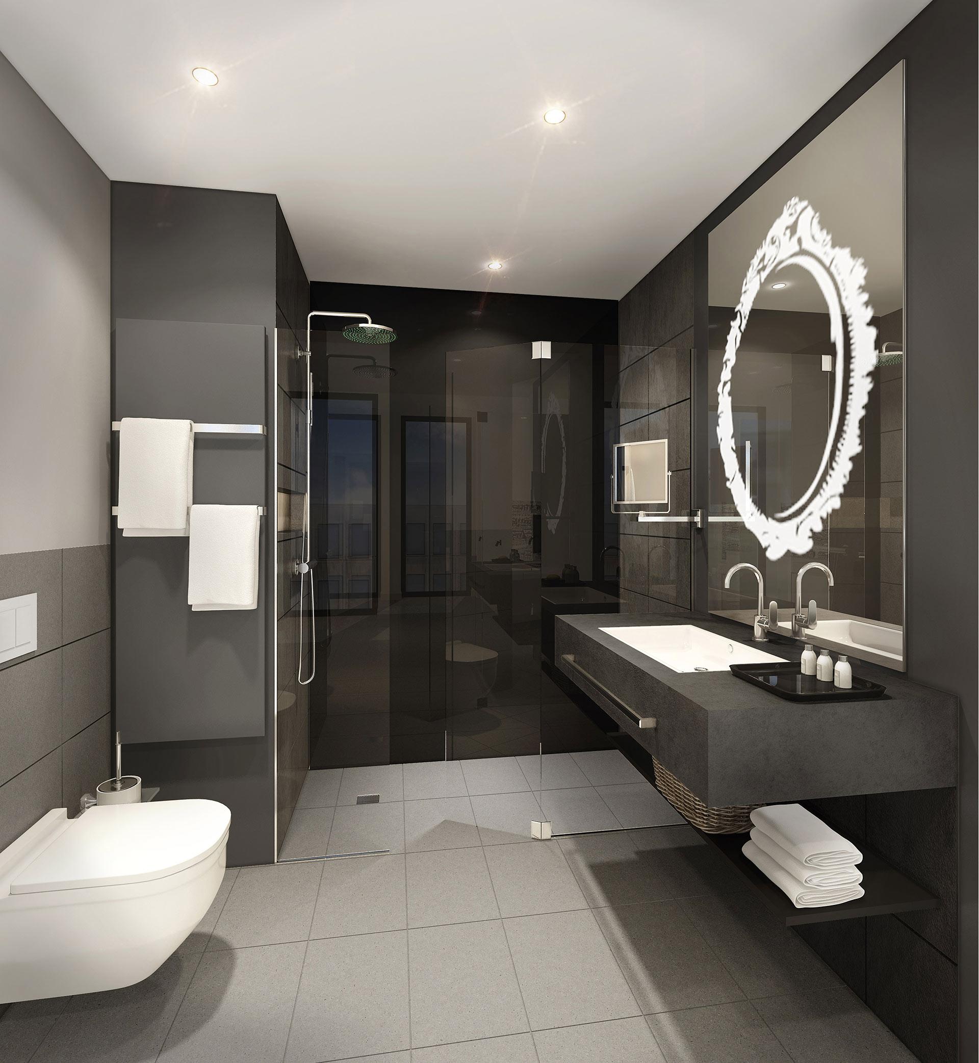 Spiegelleuchte Badezimmerspiegel von MLE. Entwurf von JOI-Design.