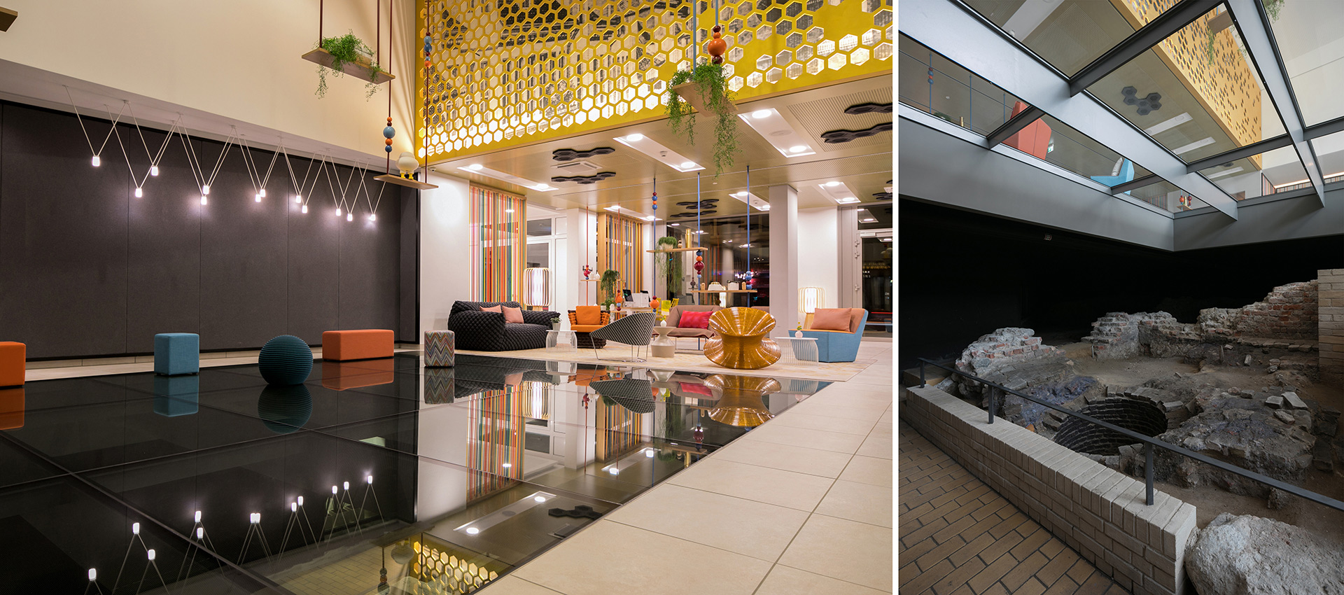 Die Lobby mit Glasboden im Capri by Fraser in Berlin
