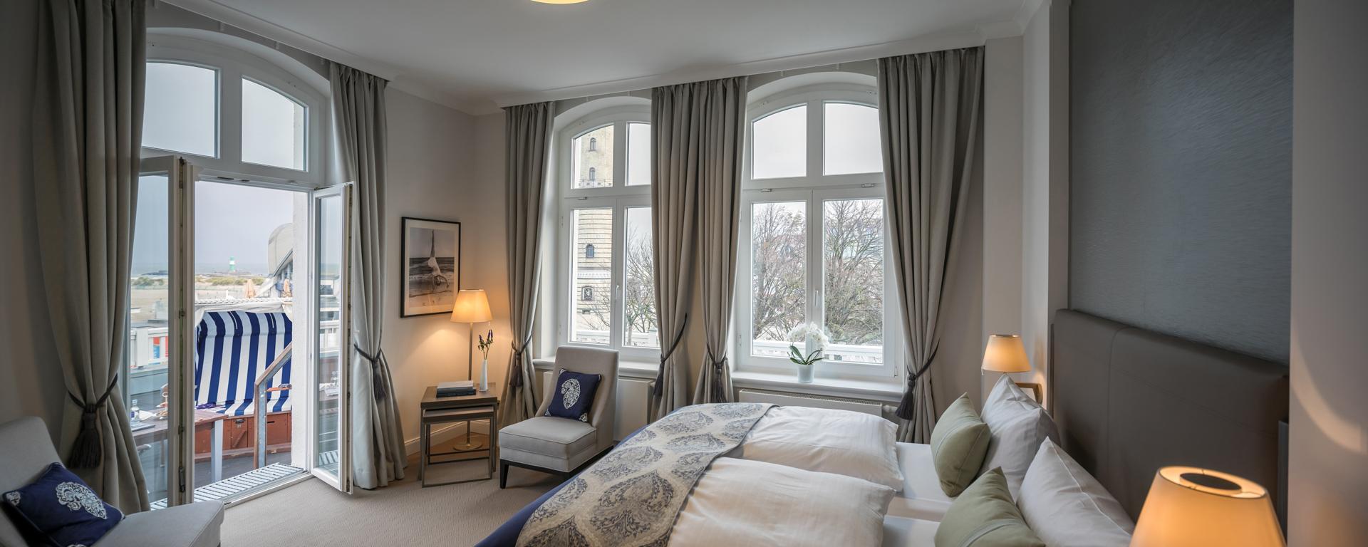 Ein Zimmer im Hotel am Leuchtturm in Warnemünde