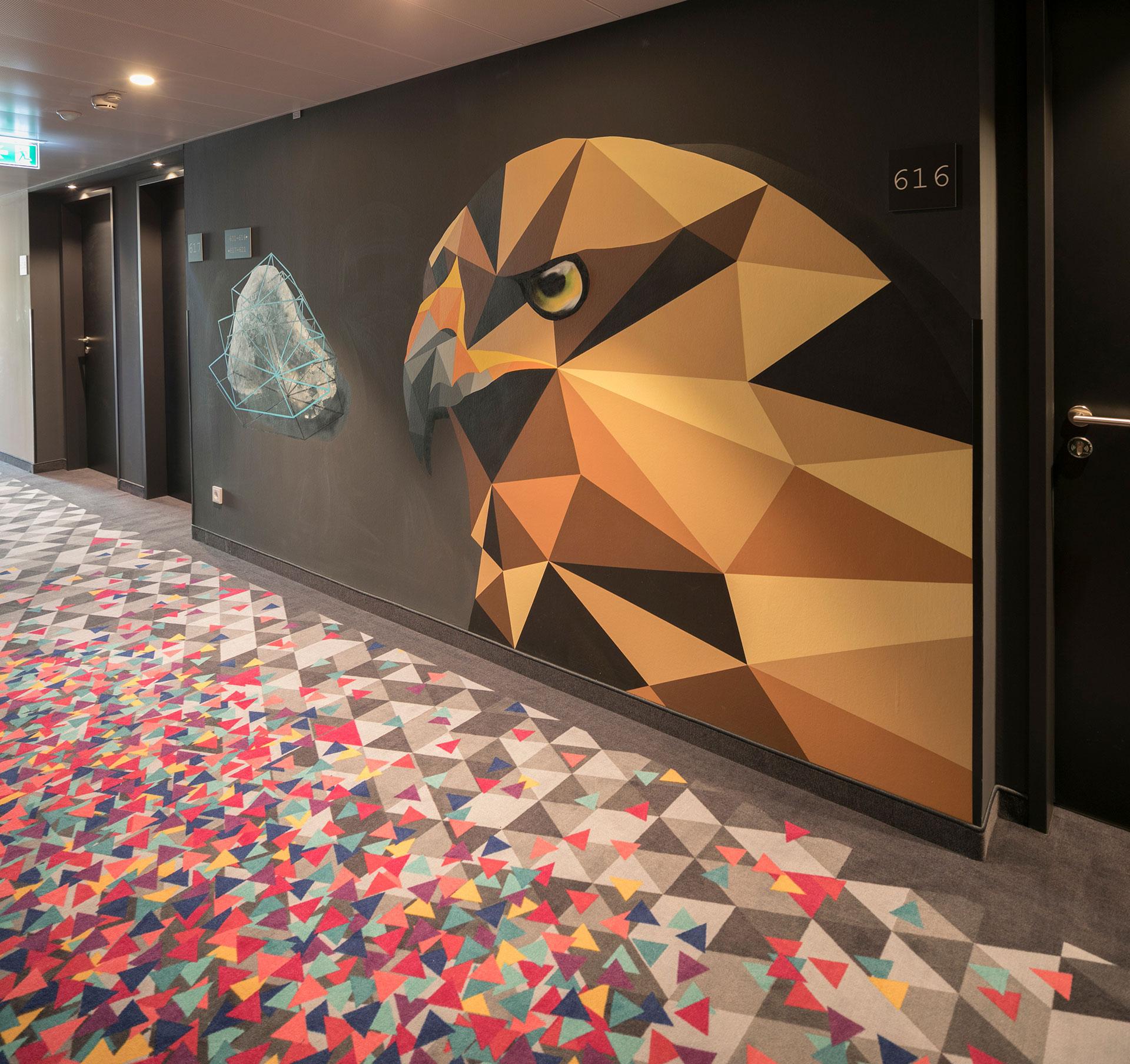 Hotelflur im Hotel niu Cobbles by Novum. Entworfen von JOI-Design