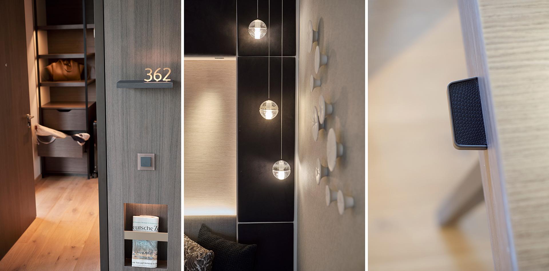 Detailsansichten aus dem Hotel Der Öschberghof in Donaueschingen. Entworfen von JOI-Design.
