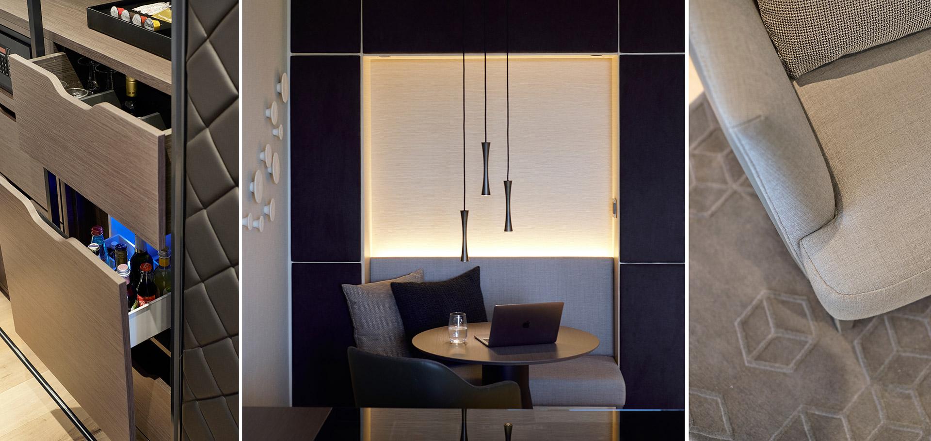 Zimmerdetails im Hotel Der Öschberghof in Donaueschingen. Entworfen von JOI-Design.