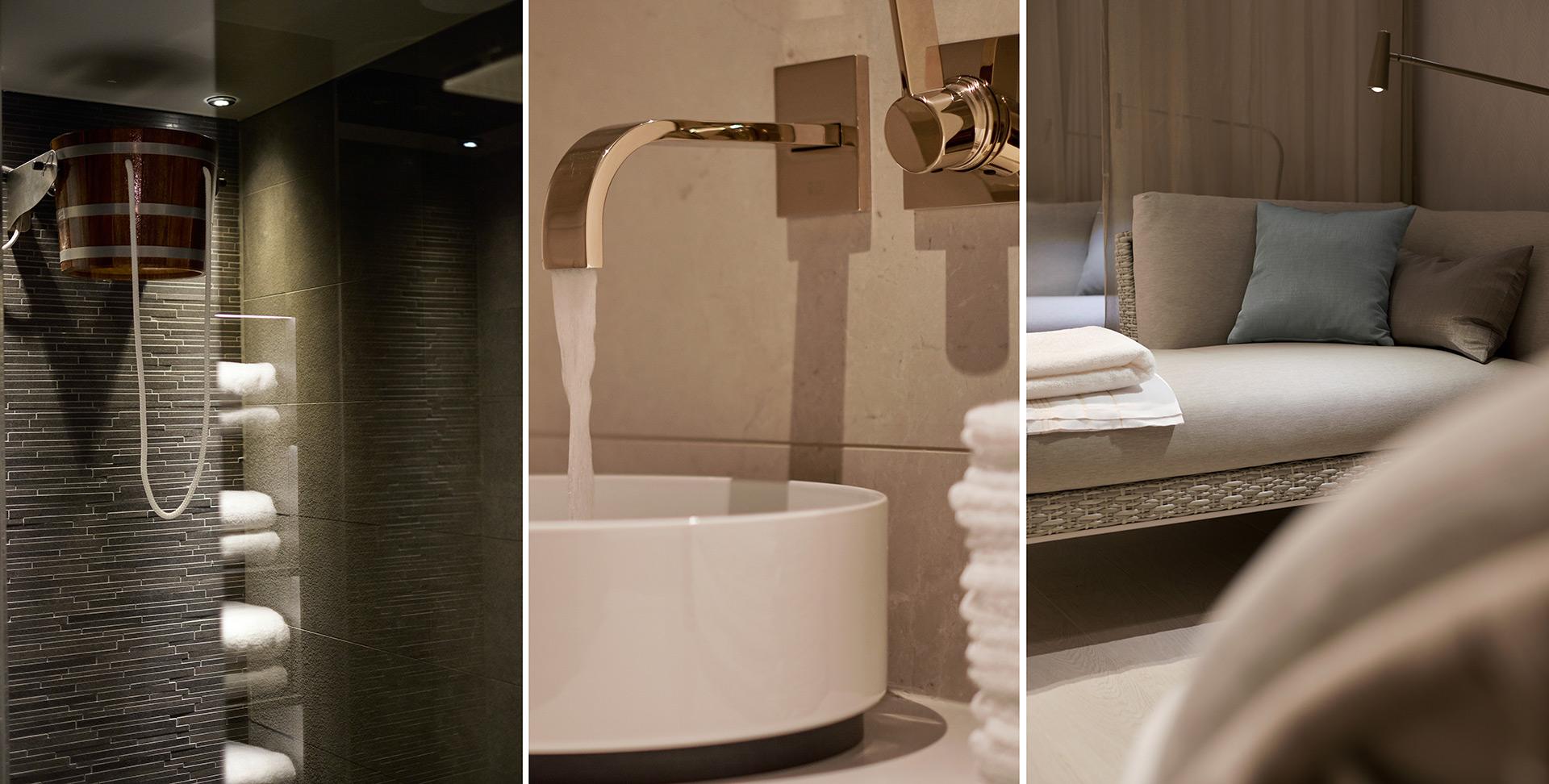 Details aus dem Spa im Hotel Der Öschberghof in Donaueschingen. Entworfen von JOI-Design.