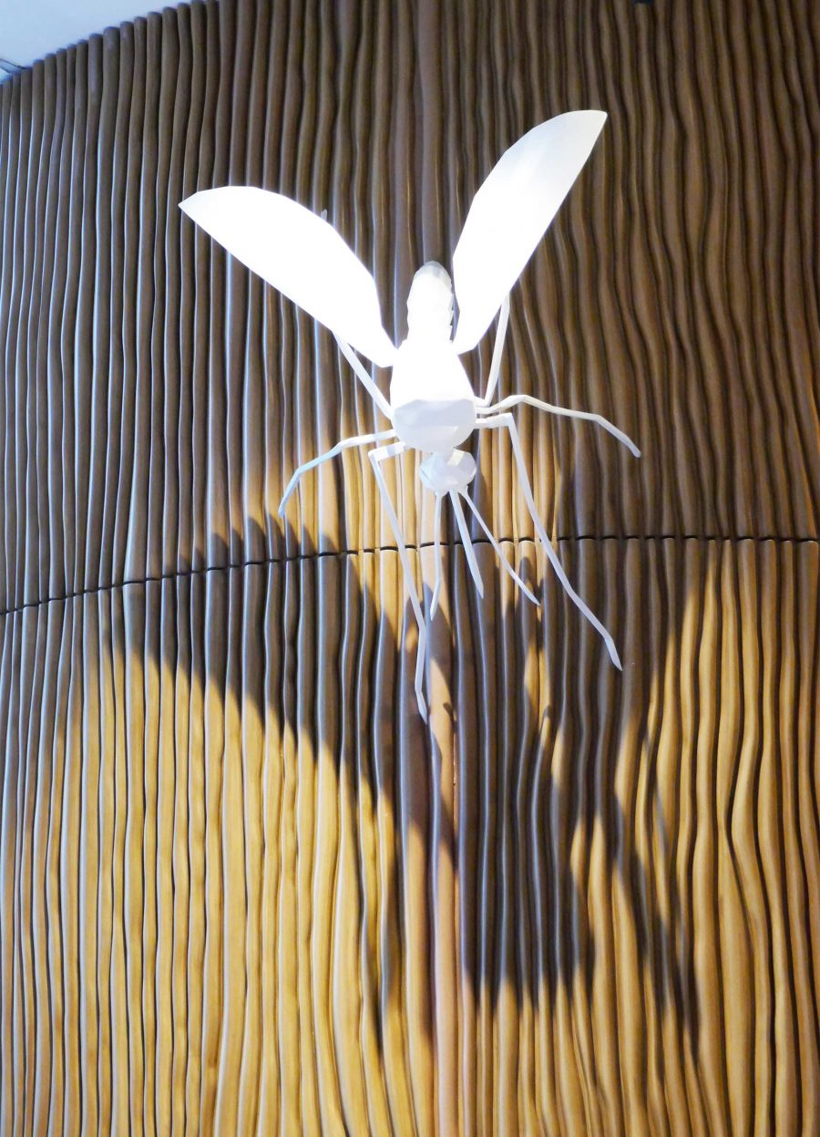 A sculpture of a mosquito