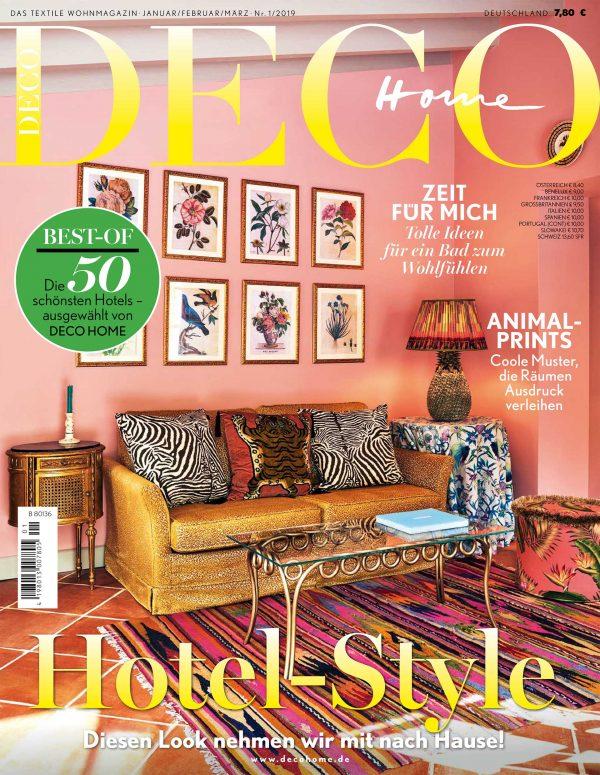 """Titelbild der """"Deco Home"""" Nr. 1/2019 mit em Thema Hotel-Style"""