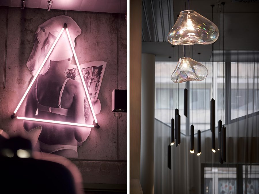 Es sind die verschiedenen Beleuchtungskonzepte im Moxy & ResidenceInn zu sehen