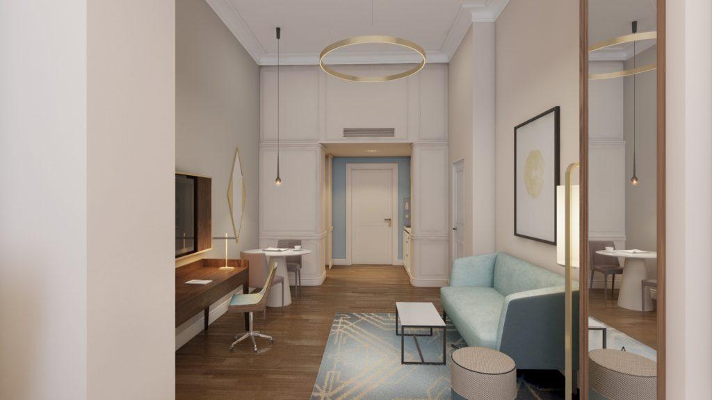 Der Blick durch die Fraser Suite in Richtung Tür
