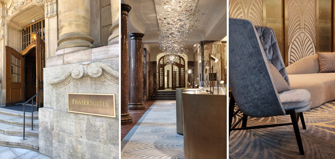 Impressions of the entrance of Fraser Suites in Hamburg
