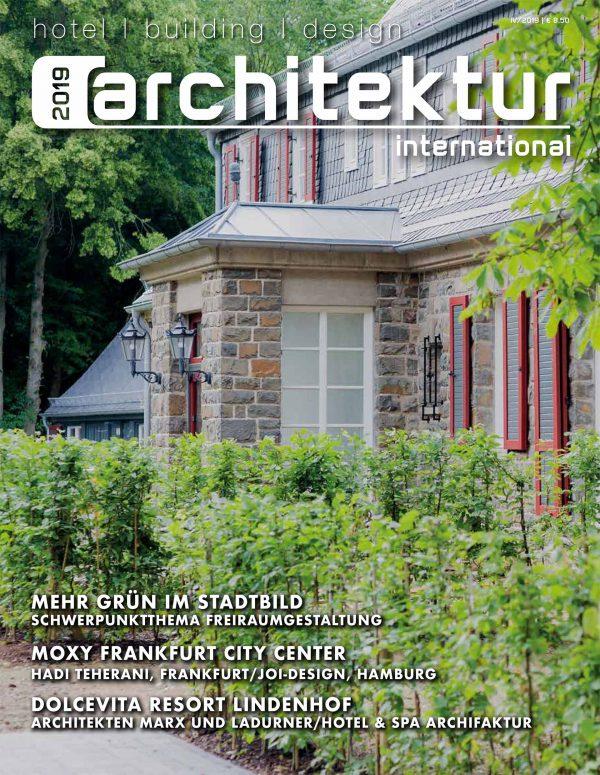 Das Projekt Moxy Frankfurt City Center von JOI-Design auf dem Cover von Architektur International