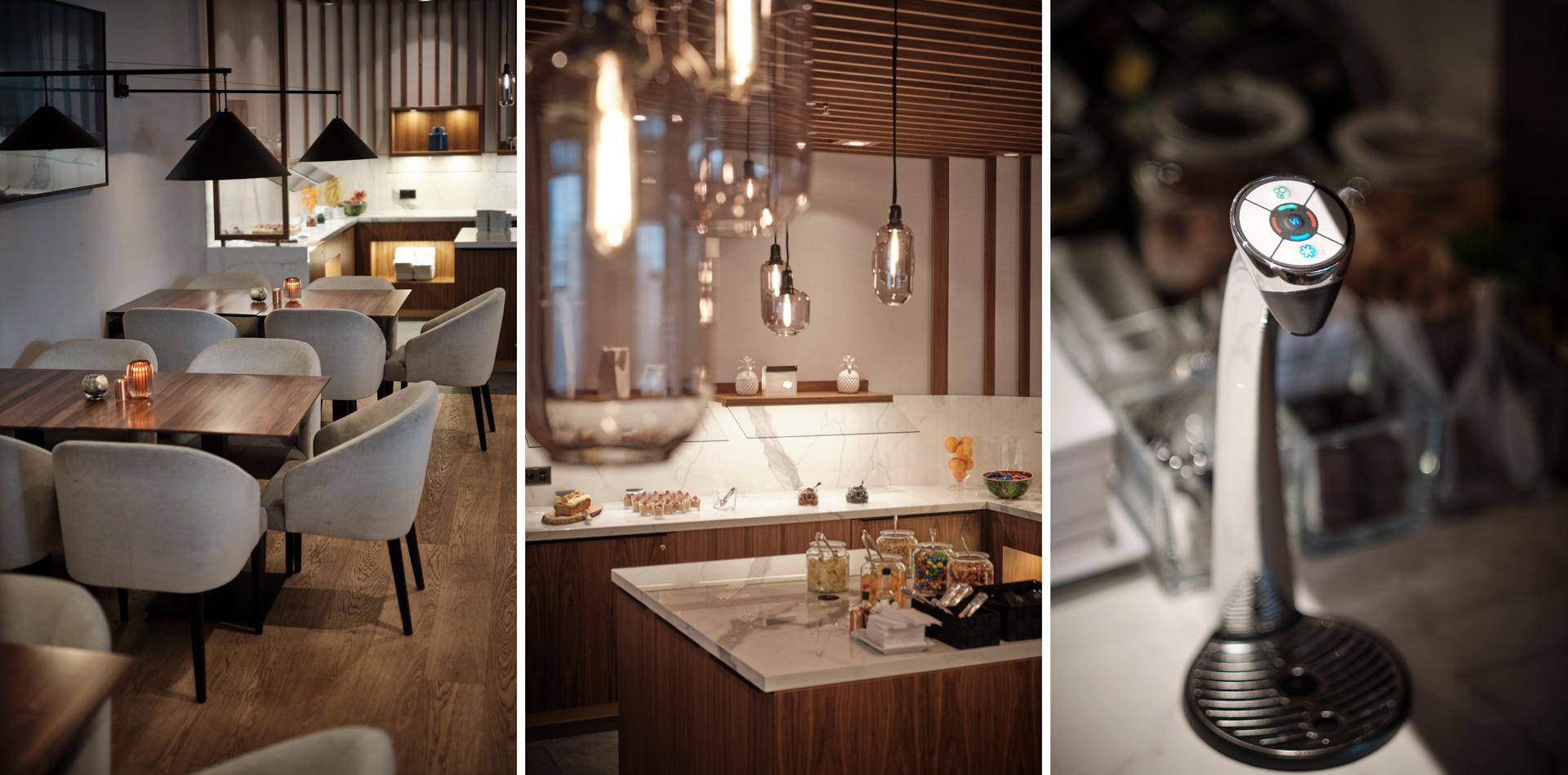 M Lounge Dining Buffet und Trinkwasser-Spender